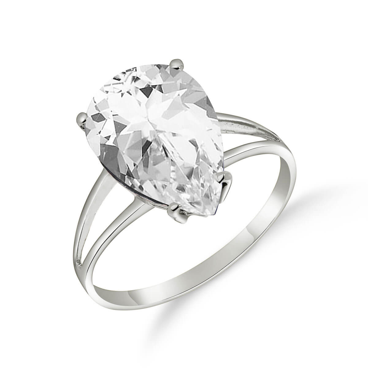 White Topaz Pear Drop Ring 5 ct in 9ct White Gold