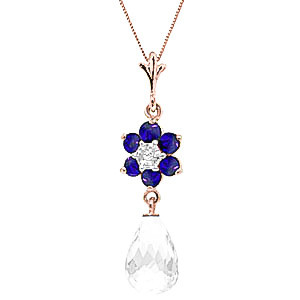 White Topaz, Sapphire & Diamond Flower Pendant Necklace in 9ct Rose Gold
