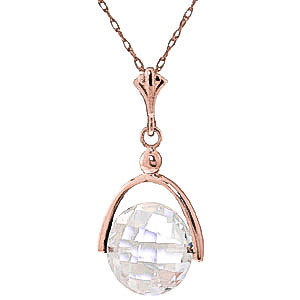 White Topaz Sparkler Drop Pendant Necklace 3.65 ct in 9ct Rose Gold