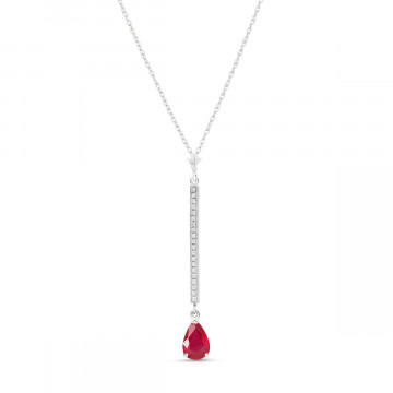 Ruby & Diamond Bar Pendant Necklace in 9ct White Gold