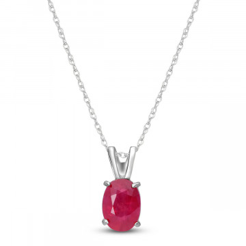 Ruby Oval Pendant Necklace 1 ct in 9ct White Gold