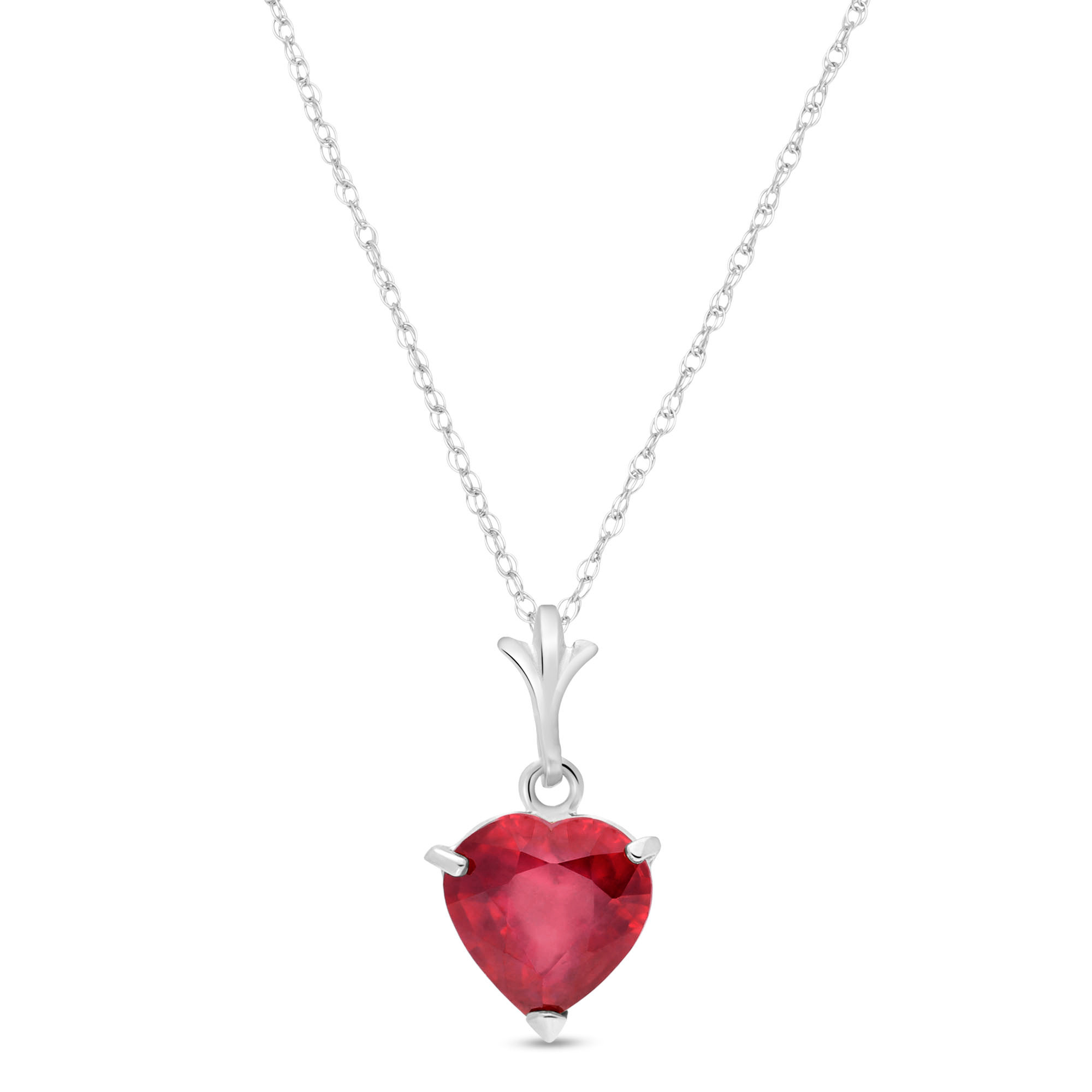 Ruby Heart Pendant Necklace 1.45 ct in 14K White Gold