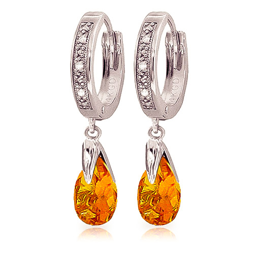 Image of Diamond & Citrine Droplet Huggie Earrings in 9ct White Gold