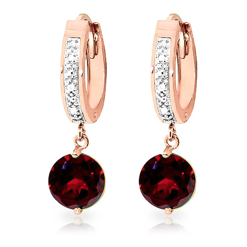 Diamond & Garnet Huggie Earrings in 9ct Rose Gold