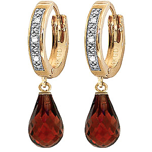 Diamond & Garnet Wreathed Earrings in 9ct Gold
