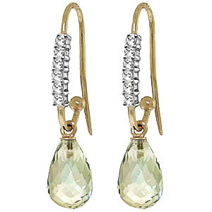 Diamond & Green Amethyst Stem Droplet Earrings in 9ct Gold