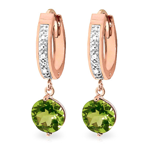 Diamond & Peridot Huggie Earrings in 9ct Rose Gold