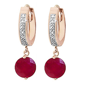 Diamond & Ruby Huggie Earrings in 9ct Rose Gold