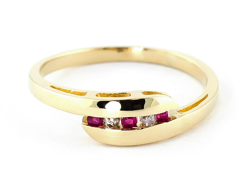 Diamond & Ruby Precision Set Channel Set Ring in 18ct Gold