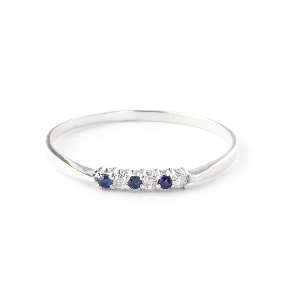 Diamond & Sapphire Eternity Ring in Sterling Silver