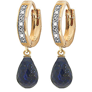 Diamond & Sapphire Wreathed Earrings in 9ct Gold