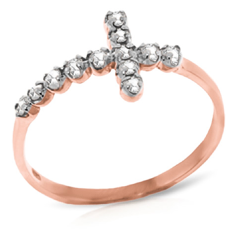 Diamond Cross Ring 0.18 ctw in 18ct Rose Gold