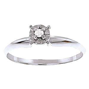 Diamond Crown Solitaire Ring 0.03 ct in Sterling Silver