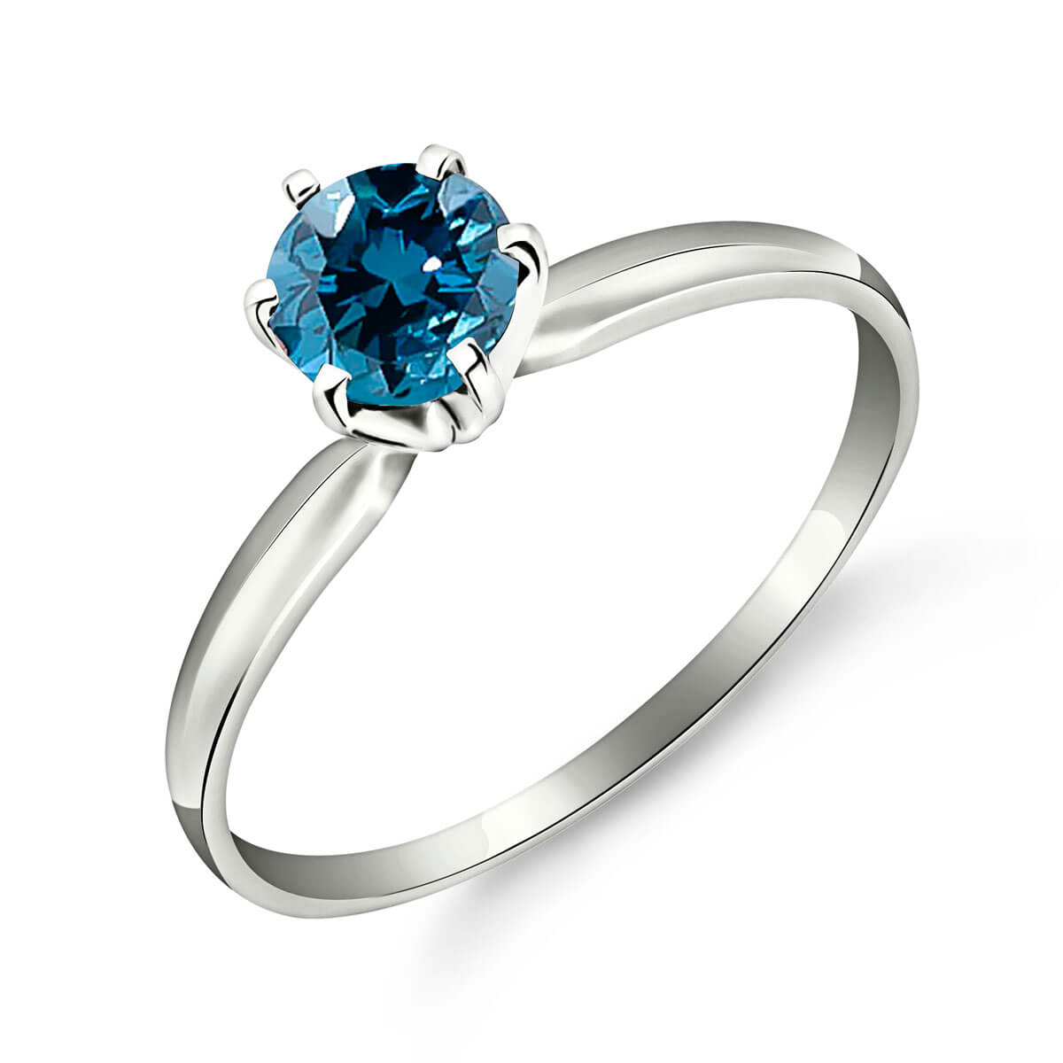 Diamond Crown Solitaire Ring 0.5 ct in Sterling Silver