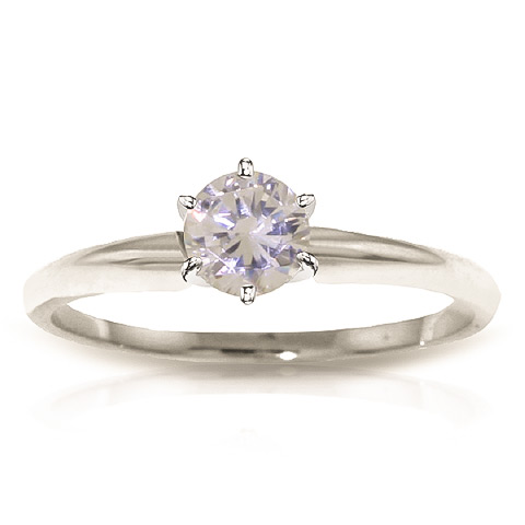 Diamond Solitaire Ring 0.35 ct in Sterling Silver