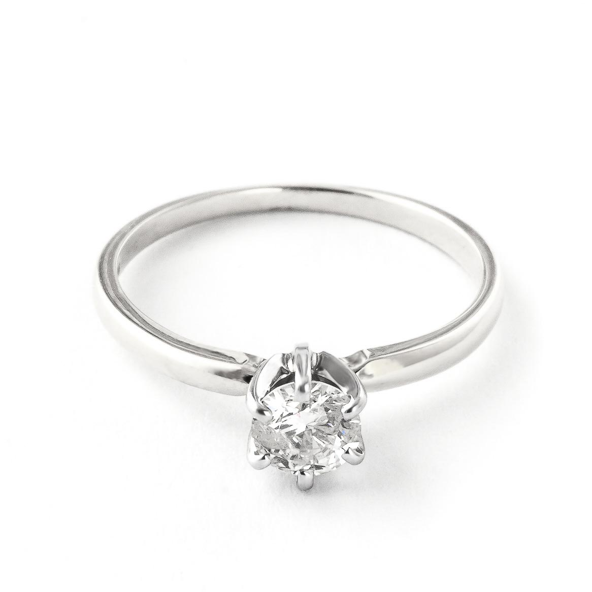 Diamond Solitaire Ring 0.4 ct in Sterling Silver