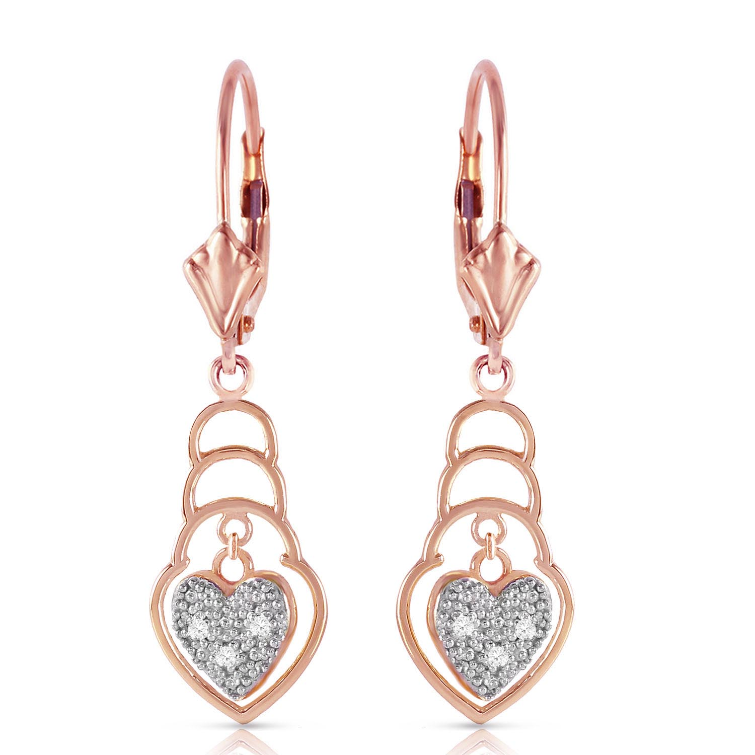 Diamond Wireframe Drop Earrings 0.03 ctw in 9ct Rose Gold