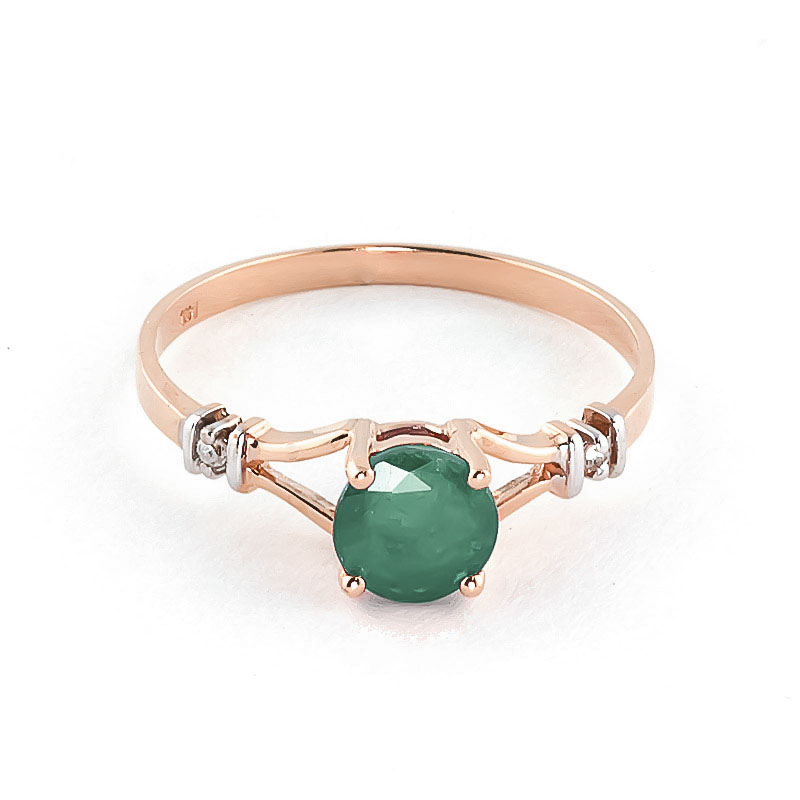 Emerald & Diamond Aspire Ring in 18ct Rose Gold