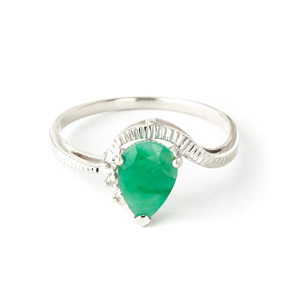 Emerald & Diamond Belle Ring in 9ct White Gold