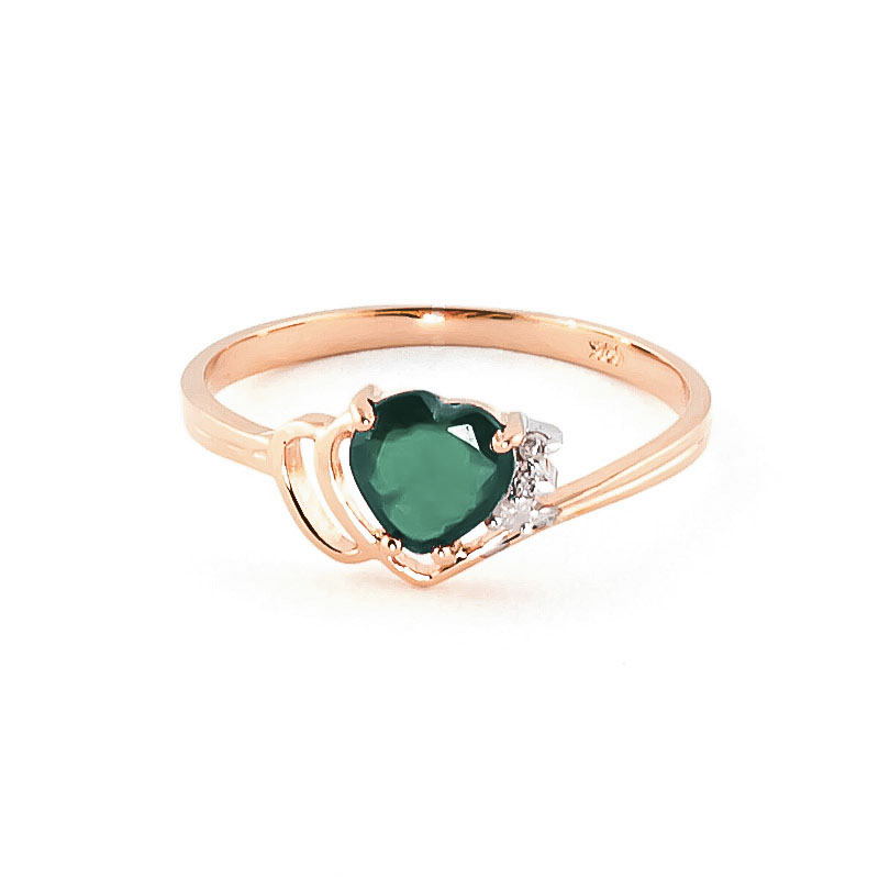 Emerald & Diamond Devotion Ring in 9ct Rose Gold