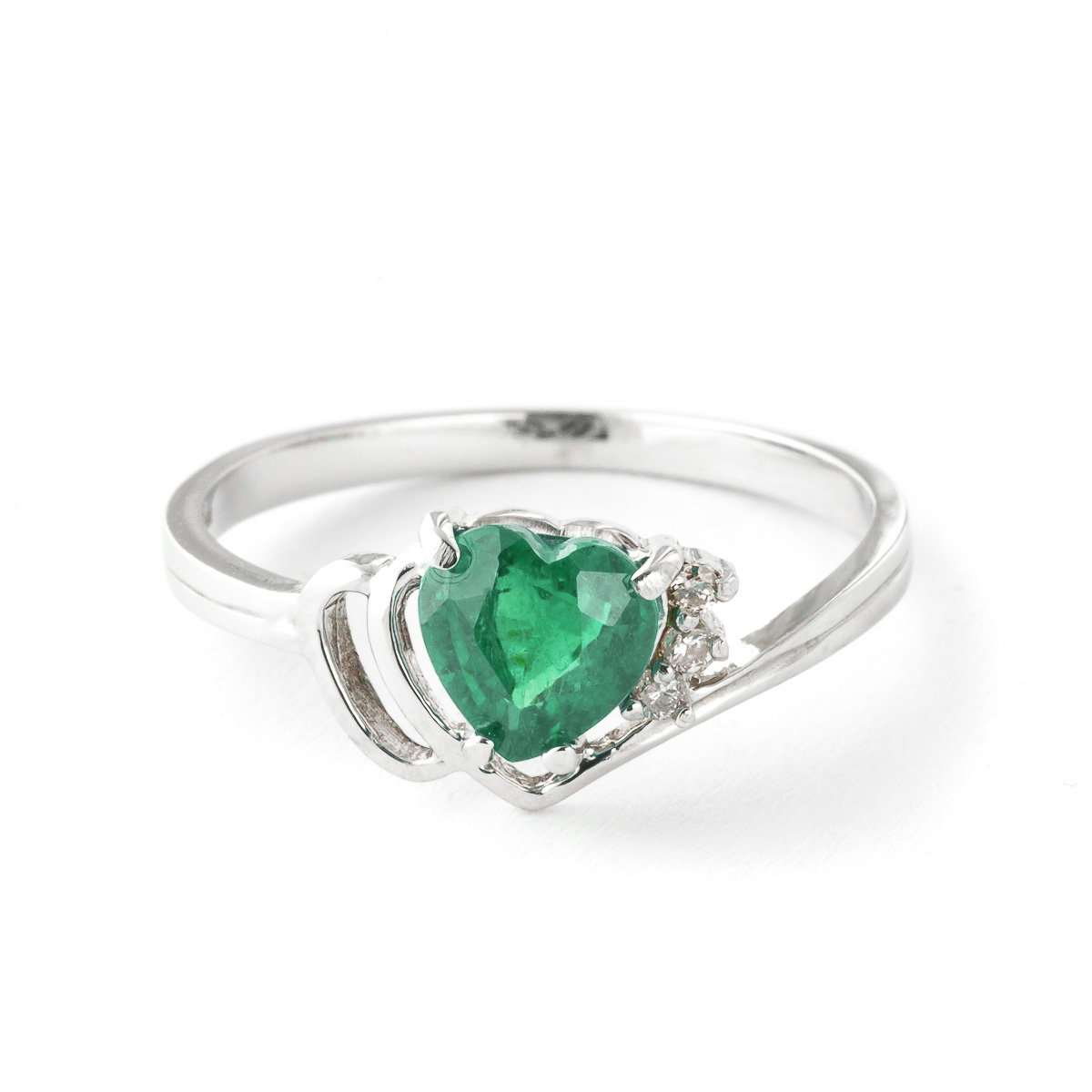 Emerald & Diamond Devotion Ring in Sterling Silver
