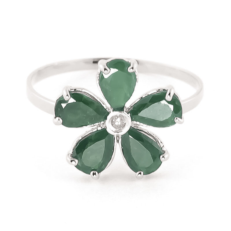 Emerald & Diamond Five Petal Ring in 9ct White Gold