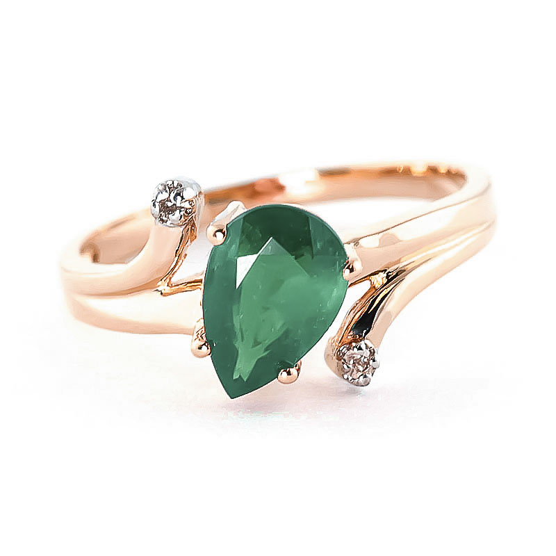 Emerald & Diamond Flank Ring in 18ct Rose Gold