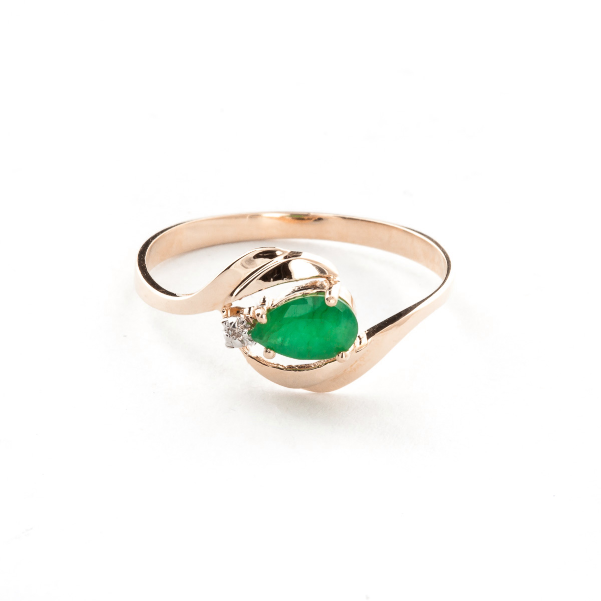 Emerald & Diamond Flare Ring in 9ct Rose Gold