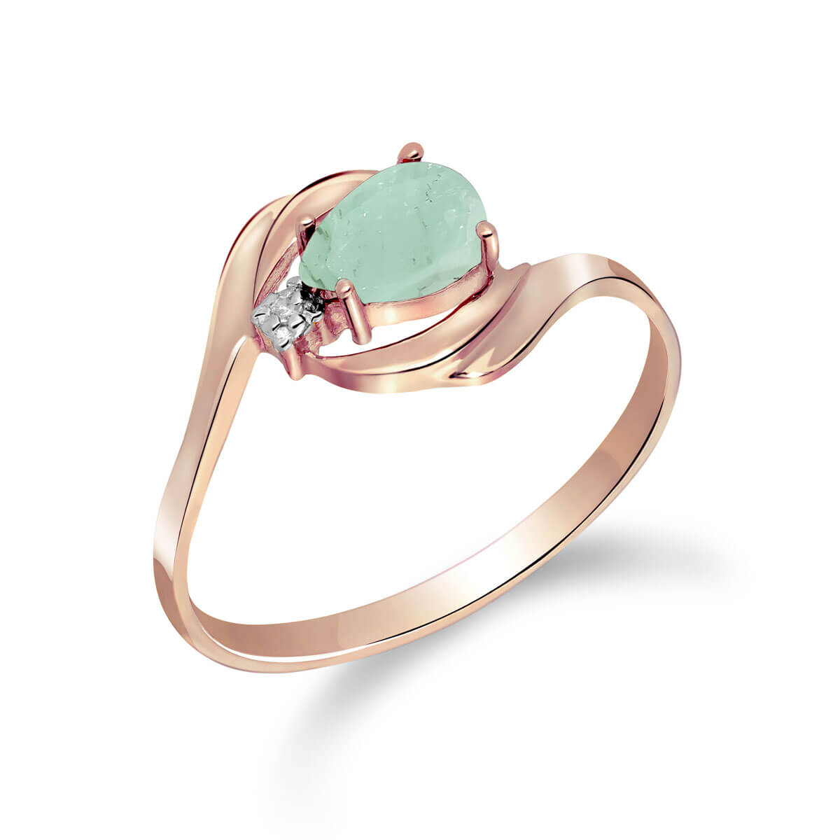 Emerald & Diamond Flare Ring in 18ct Rose Gold