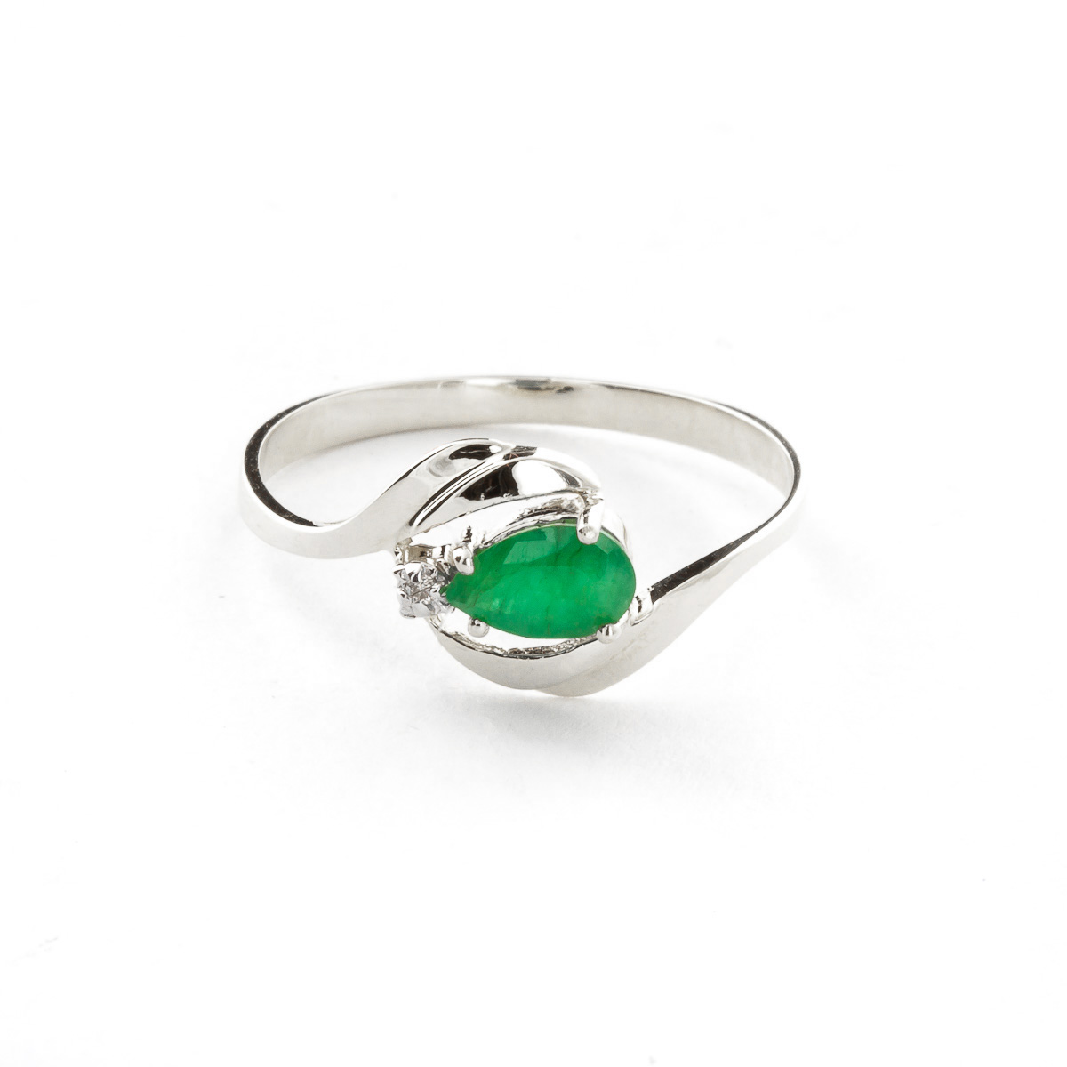 Emerald & Diamond Flare Ring in Sterling Silver