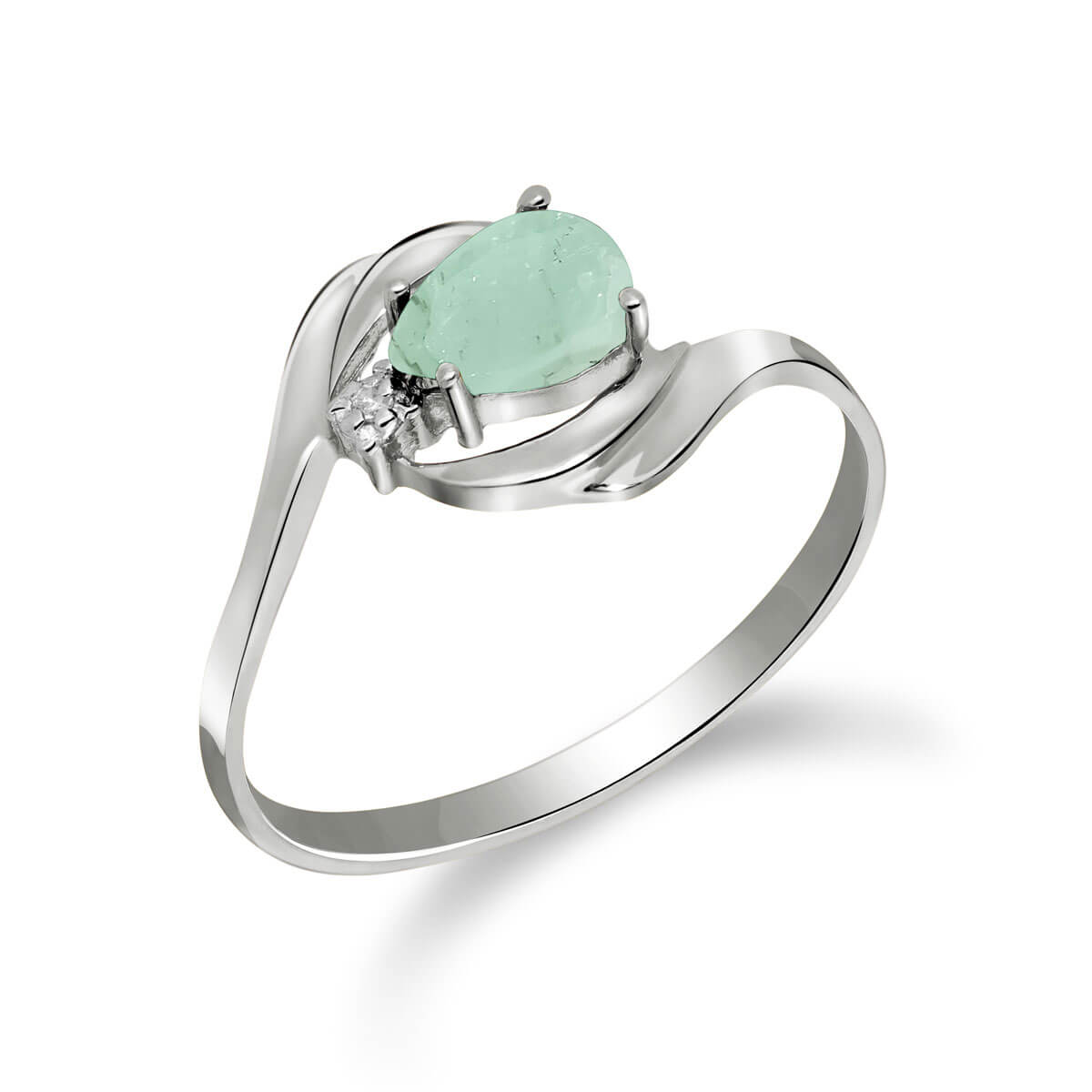 Emerald & Diamond Flare Ring in 18ct White Gold