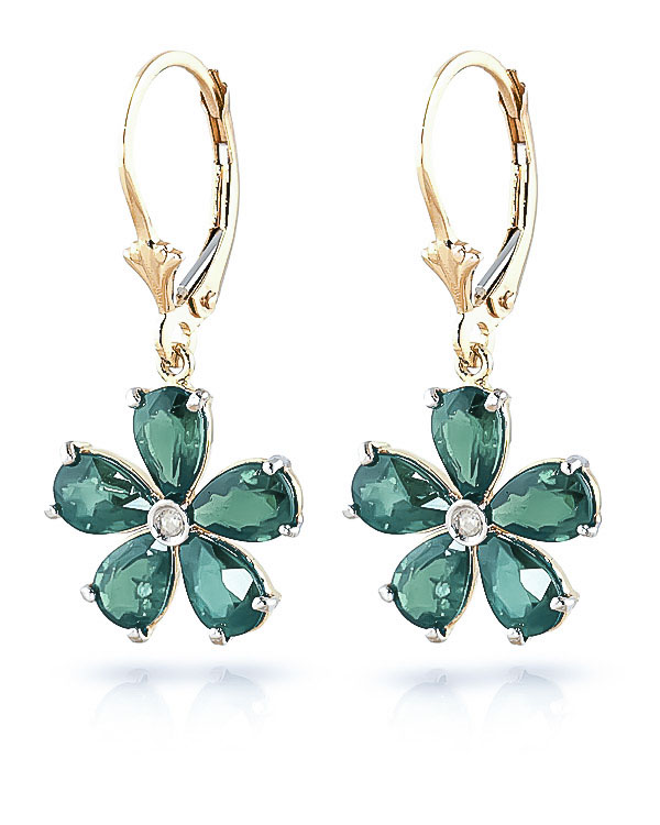 Emerald & Diamond Flower Petal Drop Earrings in 9ct Gold
