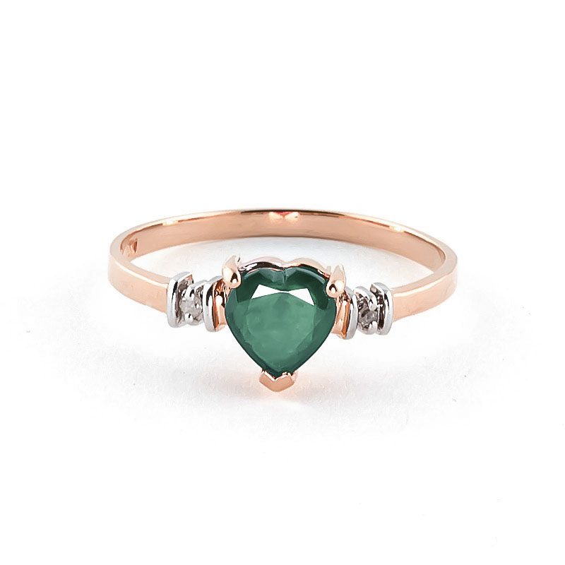 Emerald & Diamond Heart Ring in 9ct Rose Gold