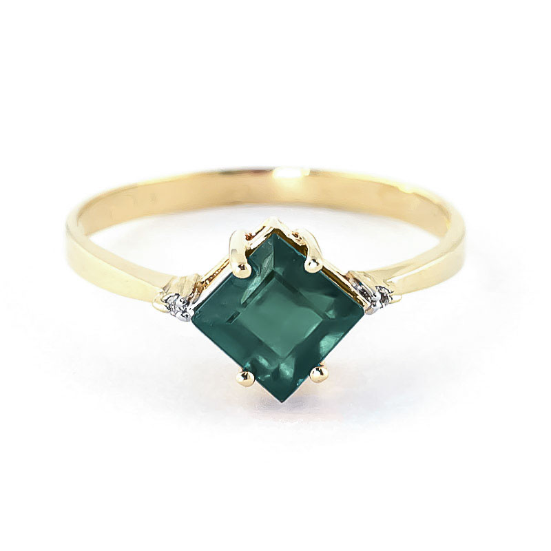 Emerald & Diamond Princess Ring in 9ct Gold