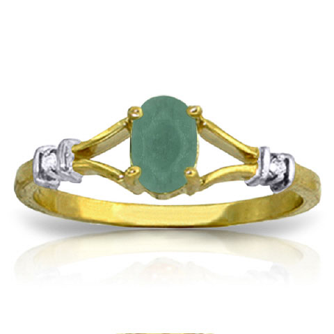 Emerald & Diamond Ring in 9ct Gold