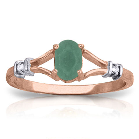 Emerald & Diamond Ring in 18ct Rose Gold