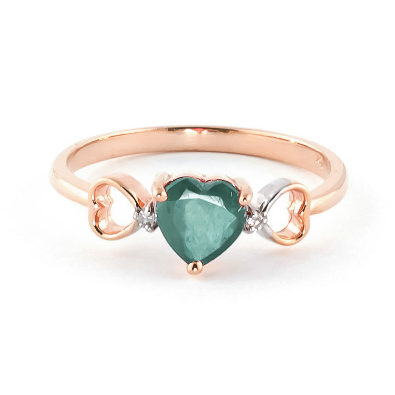 Emerald & Diamond Trinity Ring in 18ct Rose Gold