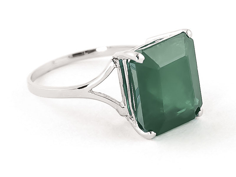 Emerald Auroral Ring 5.5 ct in 9ct White Gold