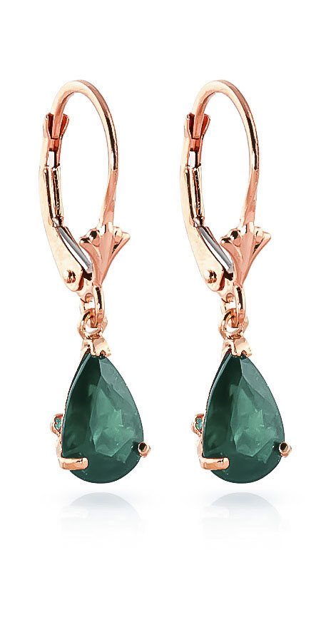 Emerald Belle Drop Earrings 2 ctw in 9ct Rose Gold