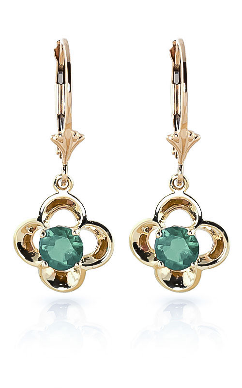 Emerald Corona Drop Earrings 1.1 ctw in 9ct Gold