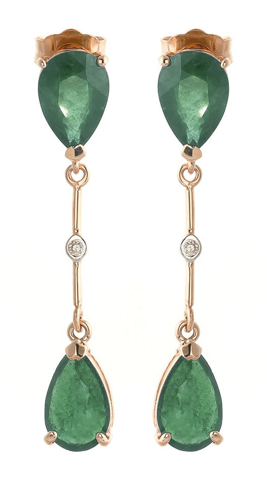 Image of  			   			  			   			  Emerald Drop Earrings 15.01 ctw in 9ct Rose Gold