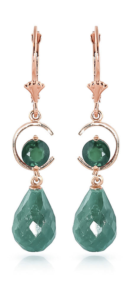 Image of            Emerald Drop Earrings 18.6 ctw in 9ct Rose Gold