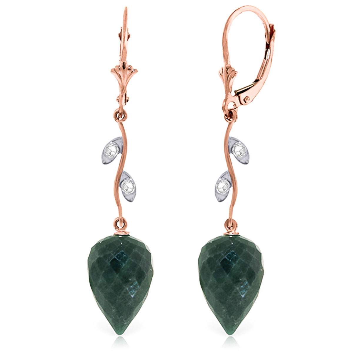 Image of Emerald Drop Earrings 25.72 ctw in 9ct Rose Gold