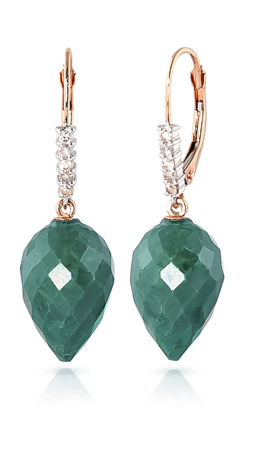 Emerald Drop Earrings 25.95 ctw in 9ct Rose Gold