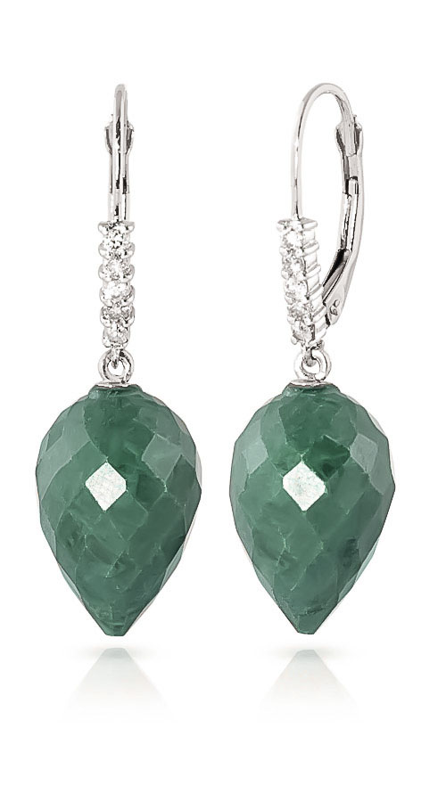 Emerald Drop Earrings 25.95 ctw in 9ct White Gold