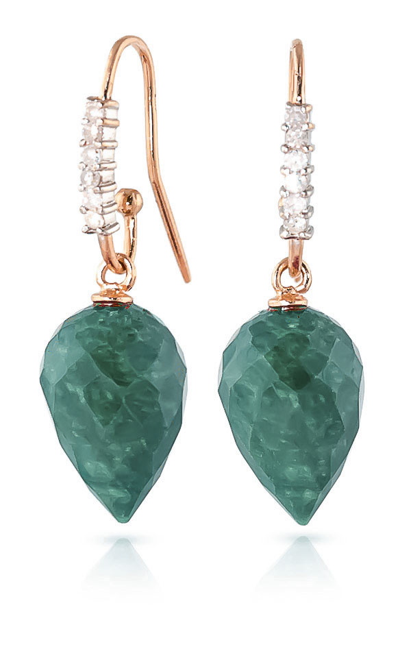 Emerald Drop Earrings 25.98 ctw in 9ct Rose Gold