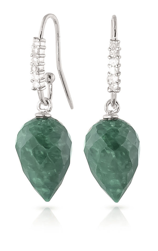 Emerald Drop Earrings 25.98 ctw in 9ct White Gold