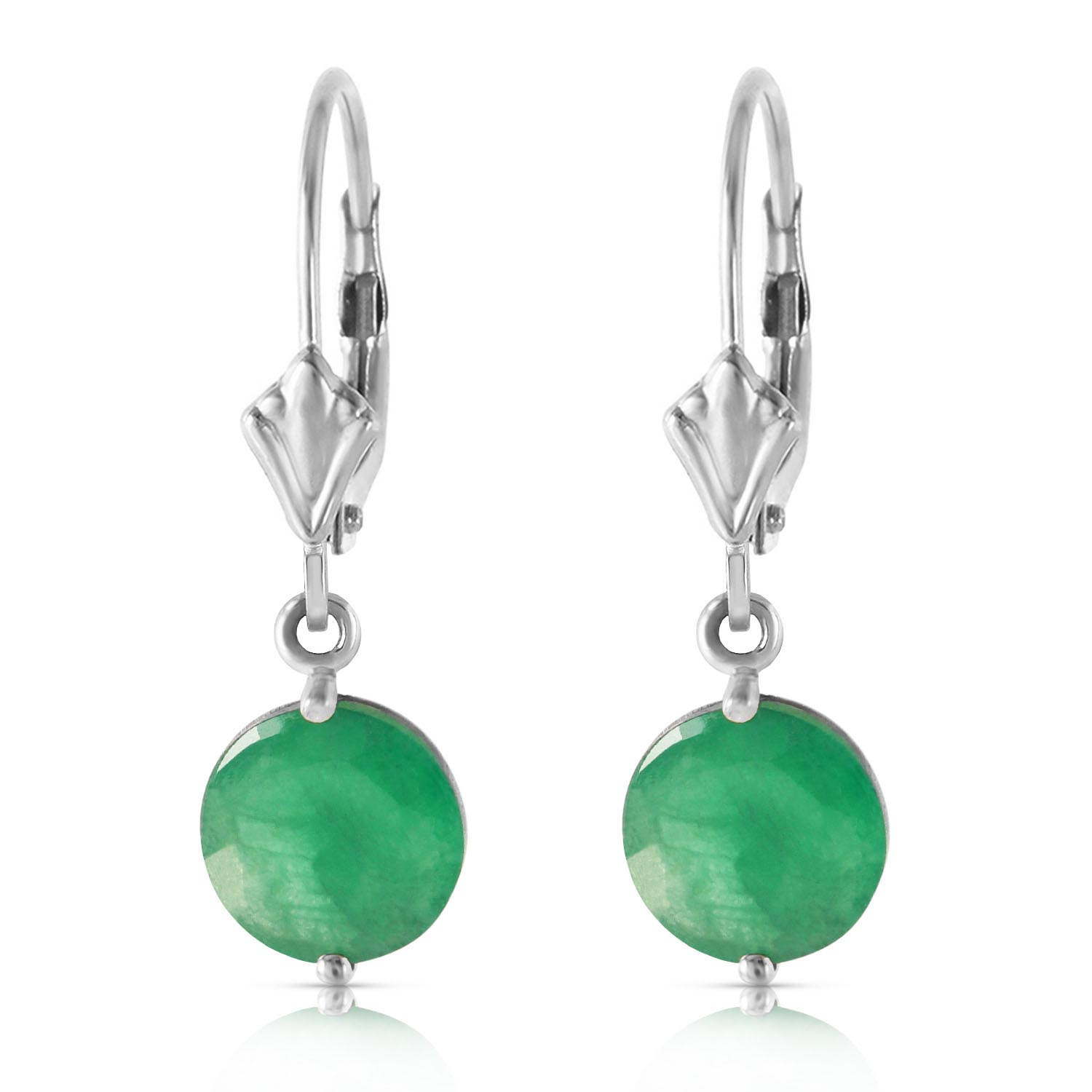 Emerald Drop Earrings 3.3 ctw in 9ct White Gold