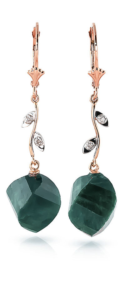 Emerald Drop Earrings 30.52 ctw in 9ct Rose Gold