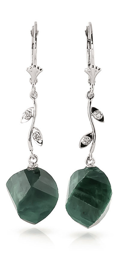 Emerald Drop Earrings 30.52 ctw in 9ct White Gold